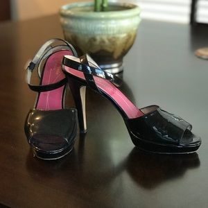 Kate Spade Black Patent Leather Open Toe Heels